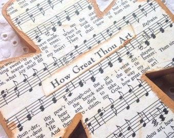 How Great Thou Art Wood Wall Hymnal Cross MADE TO ORDER