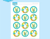 Instant download - EASTER Bunny 2 Inch Dots (Blue) - DIY Printable
