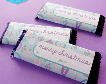 Instant Download - Merry Christmas Chocolate Wrappers - Cadbury's Furry Friends