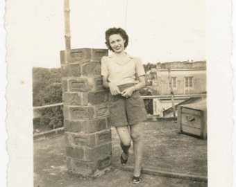 vintage photo 1940 Cute Young woman on Rooftop Shorts Snapshot photo