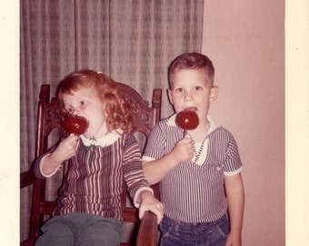 Vintage photo ''52 Halloween Red Head CHildren Girl Boy Eat Candy Apples vintage snapshot photo
