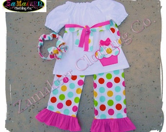 Cupcake Girl Birthday Outfit Set Polka Dot 1st 2nd Toddler Infant Baby Pant Shorts Capri 3 6 9 12 18 24 month size 2T 2 3T 3 4T 4 5T 5 6 7 8