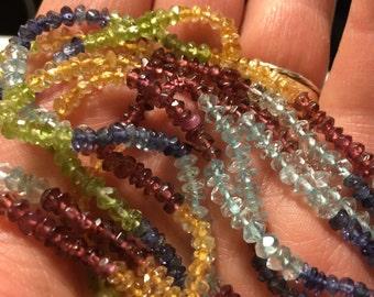 Aquamarine, Red Garnet, Citrine, Peridot, Iolite Rondelles, Multi Stone Gemstone Strand
