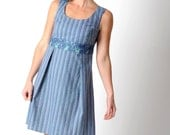 Blue cotton dress, Blue striped dress in vintage fabric and blue lace, Blue sleeveless dress, Blue summer dress, Womens clothing