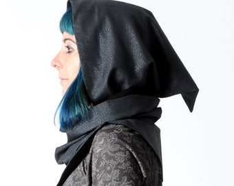 Sparkly black hooded scarf - Glittery black cowl with hood - Pixie hooded cowl in sparkly black wool