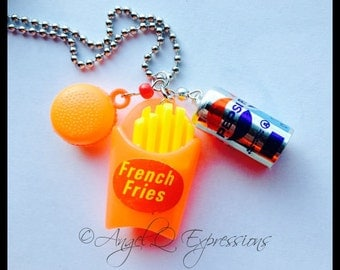 Drive Thru Junkie Fast Food Charm Necklace with Pepsi, French Fries, and a Burger