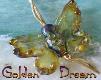 Golden Dream Glass Butterfly Lapwork Bead