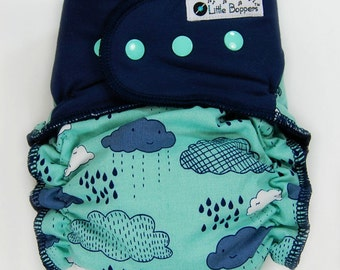 Custom Cloth Diaper or Cover Made to Order -  Summer Rain (Woven) with Navy Bamboo Jersey Wings - Made to Order Nappy or Wrap
