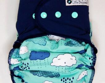 XL AI2 Cloth Diaper Hidden-PUL - Ready to Ship - Extra Large PUL All in Two Nappy - Summer Rain - Diaper Nappy -  Clouds Rain Aqua Navy