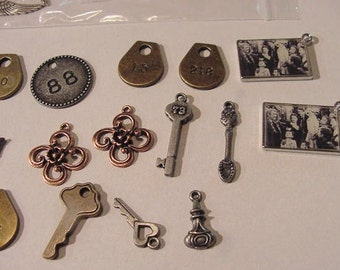 Lot of Metal Charms Small pendants JS#251 Necklace Bracelet Jewelry Supply assorted shapes themes sizes Jeweler's destash
