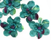 10 Delphinium Blossoms in Teal Tones and Magenta - up to 3 Inch Size - ITEM 0373