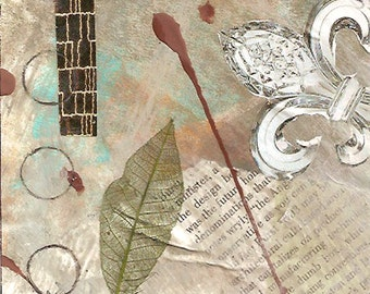 """The Morning News - Original Collage with Weathered and Hand Drawn and Painted Papers 4 x 4 on 5 x 5"""" Backing"""