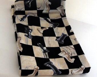 Chess Travel Laundry Bag, Men's Travel Laundry Bag, Black and White Laundry Bag, Chess Drawstring Bag, Man Drawstring Laundry Bag, Handmade