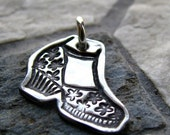 ON SALE Silver Shoe Charm, PMC Fine Silver, Girlfriend Gift
