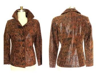 Vtg. Animal Print Women's Leather Jacket  Slim Fit XS M&R Italian Leather