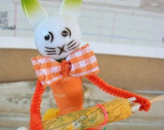 Vintage Style / Pipe Cleaner Easter Bunny Figure / Vintage Craft Supplies / Free-Standing Figure / Spun Cotton / Forget Me Nots / Umbrella