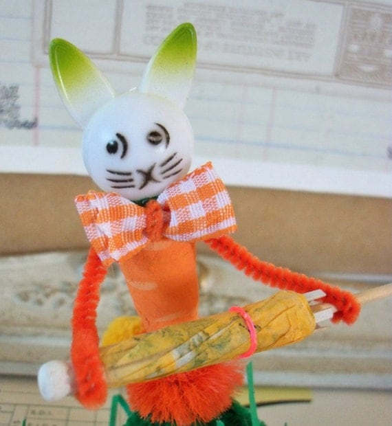 Items similar to vintage style pipe cleaner easter bunny for Easter crafts pipe cleaners