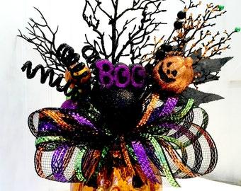 Pumpkin arrangement, Halloween arrangement, deco mesh pumpkin, Halloween table, Halloween Centerpiece, Witch boots