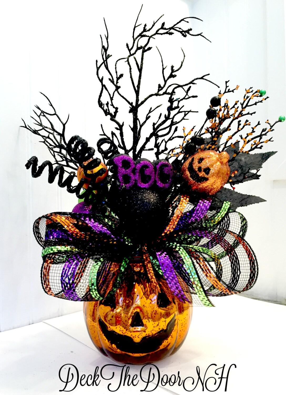 pumpkin arrangement halloween arrangement deco mesh pumpkin. Black Bedroom Furniture Sets. Home Design Ideas