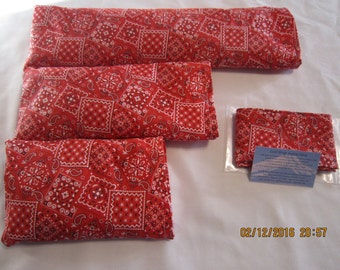 Red Bandana Cozy Comfort Set (filled with Flax Seed) Heat and Cold Packs (Unscented or Lavender) with Free Gift