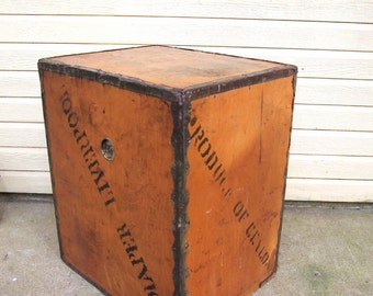 Free Shipping Rare Amazing Vintage Olive Oil Crate from Iran Metal scalloped edging Stencil Liverpool etc