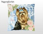 Yorkie Shabby Chic Roses Pillow Cushion Home Decor by SugarspiceArt
