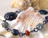 Hypoallergenic - Titanium Jewelry - Bead Bracelet - Gift for Her - Navy Blue Beaded Bracelet - Pure Titanium Bracelet - Montana Blue Series
