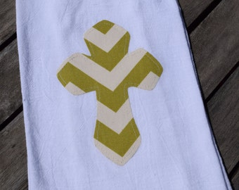 Green and cream chevron Cross flour sack tea towel