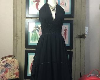 1970s dress gauze dress 70s dress halter dress size medium black Vintage sundress