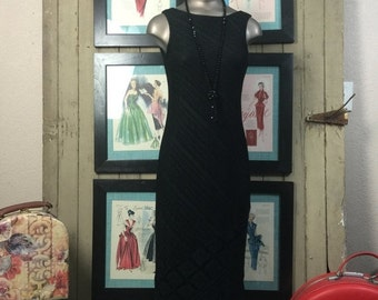 Sale 1990s black dress 90s knit dress size small Vintage flapper style dress with fringe