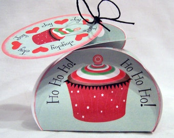 Digital download Christmas favor box; printable Christmas gift box