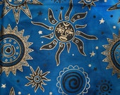 Blue and Metallic Gold Aboriginal sun celestial art QUILTER cotton