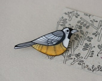 Australian Birds - Black Faced Monarch Pin