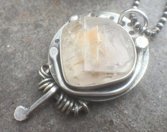 ON VACATION - Sterling Silver Raw Rutilated Quartz Bold Statement Necklace