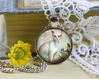 Fantasy Cat Pendant, White Cat Necklace, Fantasy Cat Necklace, Cat Jewelry, Cat Lover Jewelry, Cat Rescue