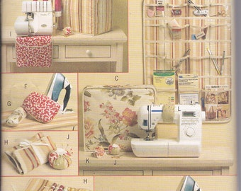 Butterick 5368 Waverly Sewing Room Accessories Serger Cover Sewing Machine Cover Tote Iron Cover Hanging Organizer Ironing Board Cover UNCUT