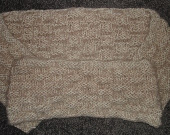 "Beige Angel Hair Basket Weave Knit Infinity Scarf - 7"" x 67"""