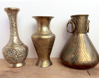 Vintage Brass Vases. Small Brass Chinese Dragon Vases, India Brass Pot - Etched / Hammered Geometric Designs. Gold Decor. Bud Vases.