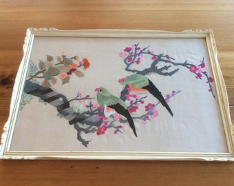 Vintage Embroidered Large Framed Textile. Chinoiserie Decor. Asian Parakeet Birds in Cherry Blossom Tree. Chinese Silk Embroidery, Wall Art.