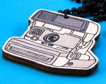 Instant Camera  Necklace - Laser Cut Wooden Pendant - Photography