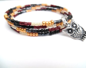 Brown Owl Beaded Wrap Bracelet, Charm Bracelet, Simple Jewelry, Plus Size Bracelet, Gift For Her, One Size Jewelry, Lightweight Bracelet