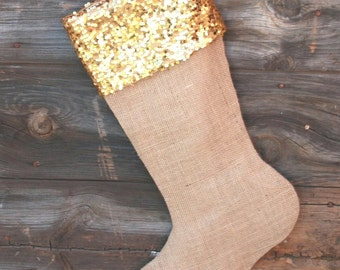 Gold Christmas Stocking - Gold and Burlap Holiday Decor - Gold Sequin and Burlap Stocking, Sequin Stocking, Stocking