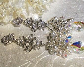 Swarovski Crystal and Pearl Earrings, Hollywood Glamour, Floral Drop and Cluster Earrings, Bridal Earrings