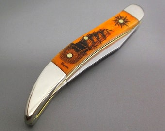Scrimshaw Pocket Knife Sailing Ship Compass Rose Nautical Design Case Knife Small Texas Toothpick Persimmon Orange Dyed Cow Bone,