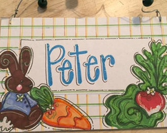 Hand personalized peter rabbit sign