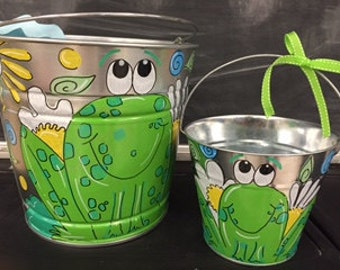 End of the year teacher gift bucket hand painted and personalized