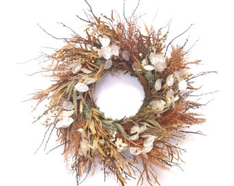Brown White Black preserved eucalyptus and money plant dried wreath