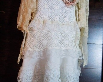 Valentines Sale Crochet lace dress wedding white ivory strapless lace tulle tiered boho  vintage  bride outdoor  romantic medium by vintage