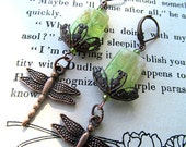 Dragonfly Earrings, Green, Etched Glass Beads, Fantasy Jewelry, Whimsical, Dangle, Bohemian, Copper, art nouveau, garden, Gift for her, boho