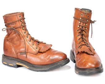 Classic Western Boots 90s Grunge Rust Brown Packer WAXED Leather Roper Boot Lace Up Riding Platform Booties Wide Fit US men 10 UK 9.5 Eur 44